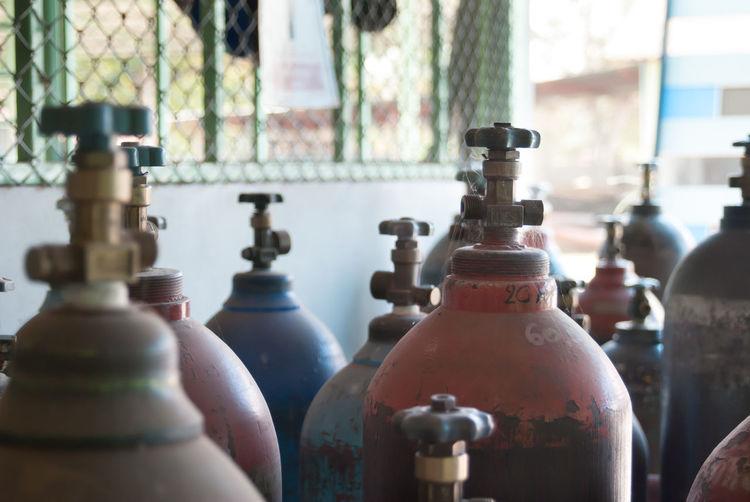 Close-up of bottles