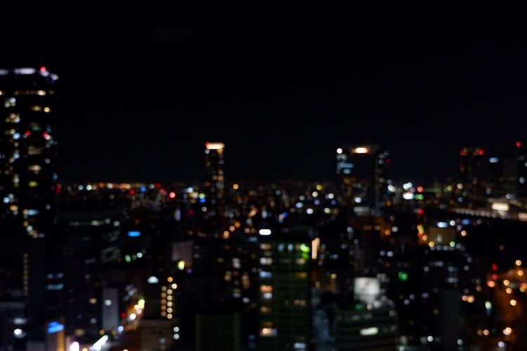 Blurred background of night view with many buildings from the roof top Night Twilight Tokyo Light View Cityscape Landscape Light Top View Urban City Building Exterior Blur Night Illuminated Cityscape Building Exterior Architecture City No People Skyscraper Modern Built Structure Outdoors Sky
