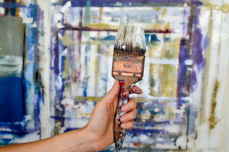 Art And Craft Art And Craft Equipment Body Part Brush Close-up Creativity Finger Focus On Foreground Hand Holding Human Body Part Human Finger Human Hand Indoors  Leisure Activity Lifestyles Occupation One Person Paint Paintbrush Real People The Creative - 2019 EyeEm Awards