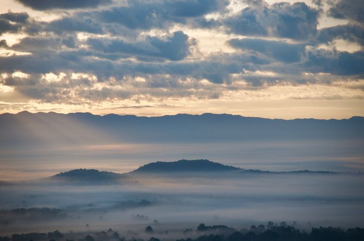 Somewhere out there Top High High Angle View Morning Foggy Hill Mountain Relax Shine Bless Cloud EyeEmNewHere Sunrise Sky Cloud - Sky Beauty In Nature Tranquil Scene Scenics - Nature Tranquility Mountain Sunset Nature Mountain Range Environment Landscape Outdoors Fog Majestic Hazy  Silhouette