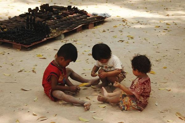Child Boys Education Sand People Student Girls Sitting Childhood Children Only Adult Learning Full Length Females Outdoors Day