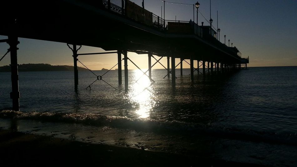 Paignton Pier Beach Pier Paignton Devon Sunrise Shoreline By The Sea Seaside Sillouette Beach Silhouettes Sunrise Silhouette Learn & Shoot: Leading Lines Reflection
