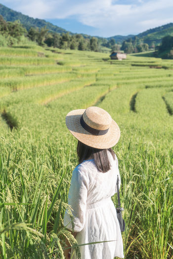 Woman Portrait Green Lace Landscape Hat Clothing Rear View Plant Field Land Green Color Grass Adult Growth Nature Women Rural Scene Day Beauty In Nature One Person Agriculture Environment Scenics - Nature Farm Sun Hat Outdoors Hairstyle Farmer