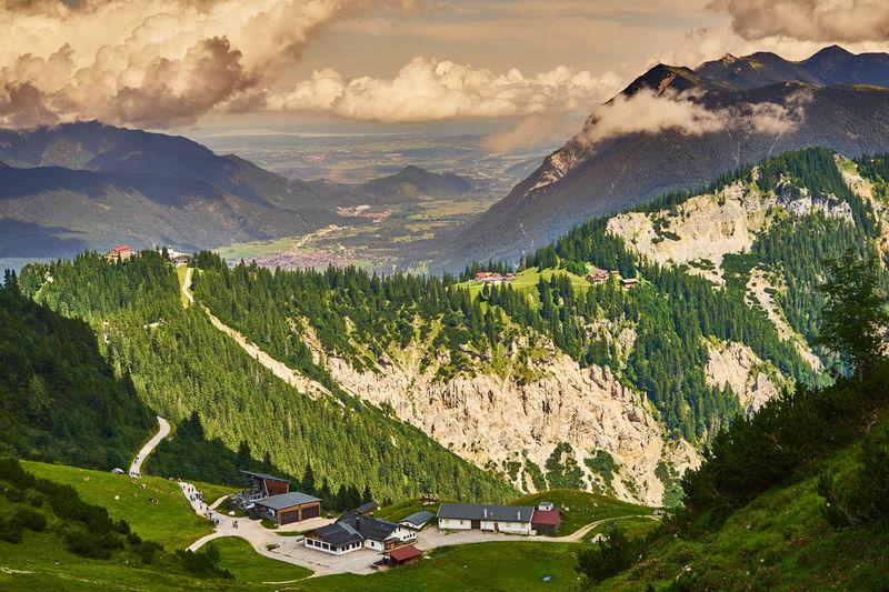Garmisch-partenkirchen, germany, august 8., 2019, cable car station at a former alpine hut