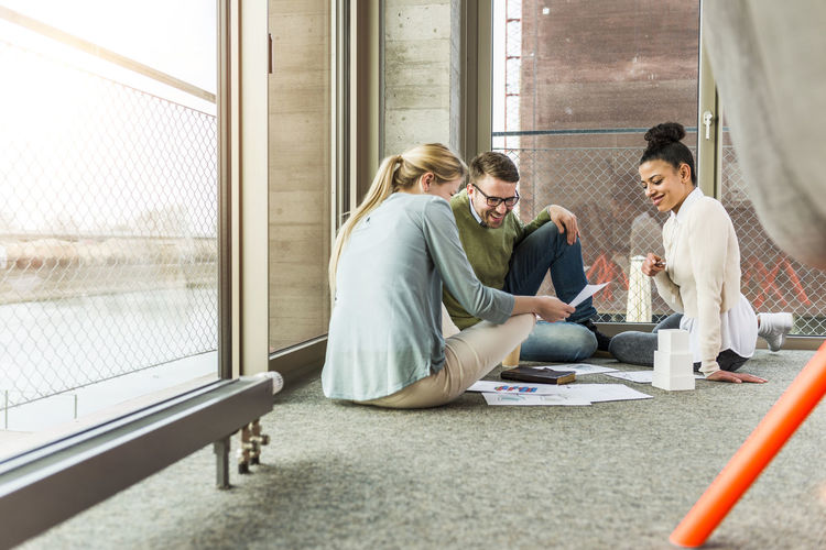 Group of people working at home