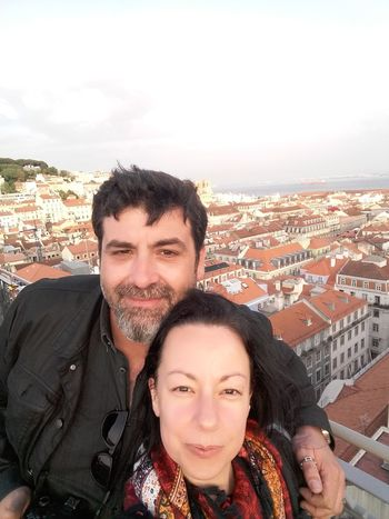 View over Lisbon, Portugal. In Elevador da Glória. Couple Smiling Lisboa Portugal Lisbon - Portugal Lisbonlovers Togetherness Portrait Adult Smiling Happiness Looking At Camera People Vacations Front View Leisure Activity Stories From The City