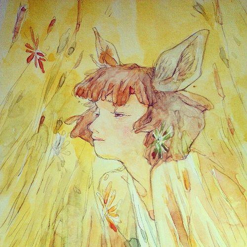 Doodle Deergirl Lookthoseeyes Watercolor handdrawn 可以随意画画线最幸福了