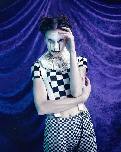 These are the dark days in your life. 🥀 Model: Amanda S. Assistant: Zoe Rogers. Scary Jester  Clown Portrait Conceptual Studio 120 Film Young Adult Old-fashioned Portrait Retro Styled Looking At Camera Fashion One Young Woman Only Beautiful Woman Young Women People One Person