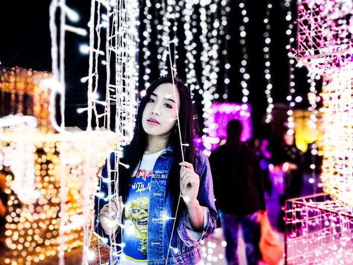Winter People One Person Smiling Happiness Portrait Night Girls Beauty Young Women