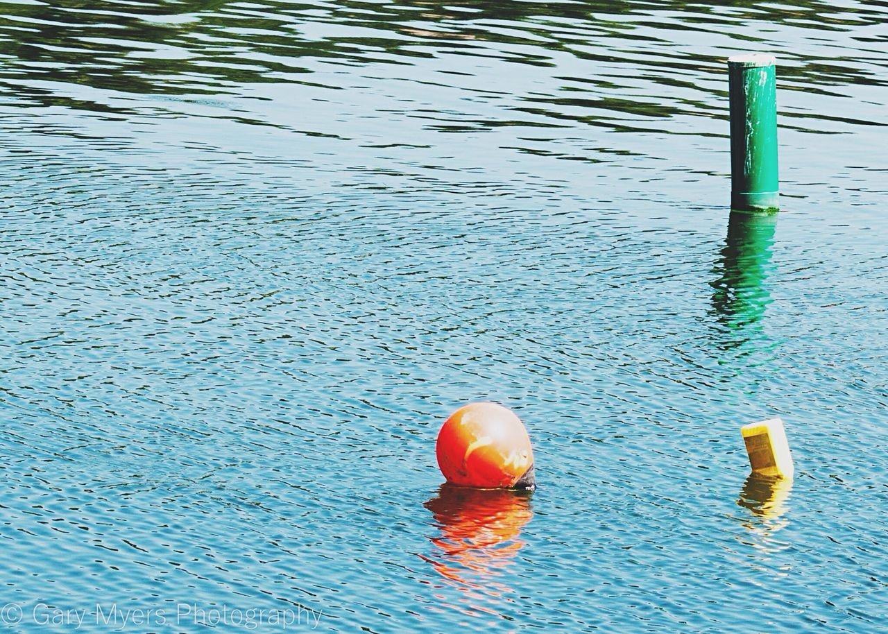 water, no people, nature, day, buoy, waterfront, high angle view, floating on water, floating, rippled, blue, outdoors, swimming pool, security, protection, safety, reflection, pool, float, inflatable, wooden post