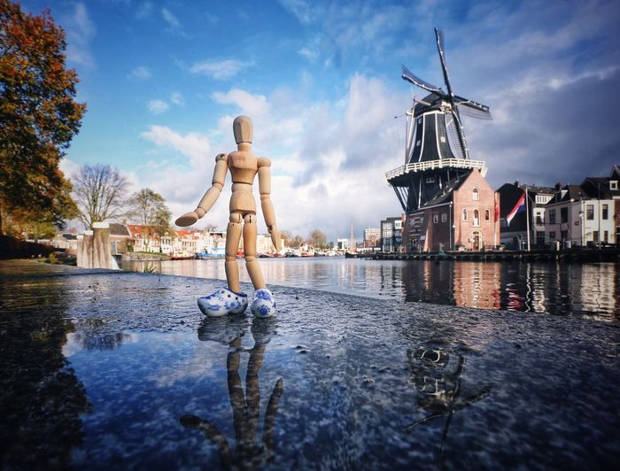 Woody got new shoes Sky Windmill Water Architecture Cloud - Sky Traditional Windmill Human Representation Creativity Old Town City Autumn Holland Travel Destinations Woodyforest Reflections In The Water Haarlem