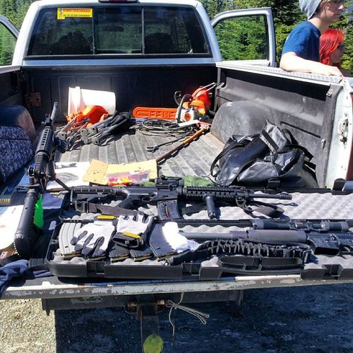 Thearsenal ... gettin ready for some Funwithguns ... CleEllumrivercamping2013 Windham556mm Olympicarms556mmMFR mossberg715t22longrifle stihlchainsaw doworkson molonlabe lovemyrights