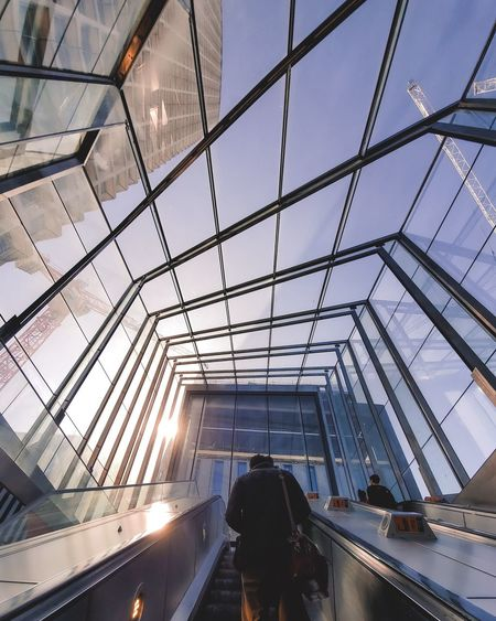 Low angle view of modern glass ceiling