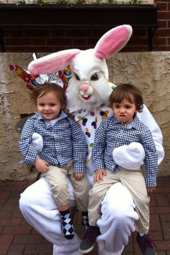 Almost forgot to post this...The Saile Twins with the Easter bunny SaileTwins Buonapasqua TheVille Streamzoofamily