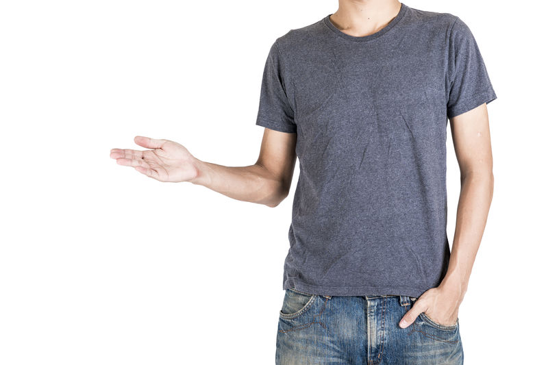 Midsection Of Man Gesturing While Standing Against White Background