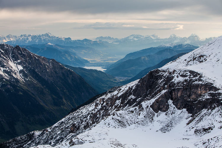 Scenic view of snowcapped mountains against sky, view from edelweissspitze, alps, austria