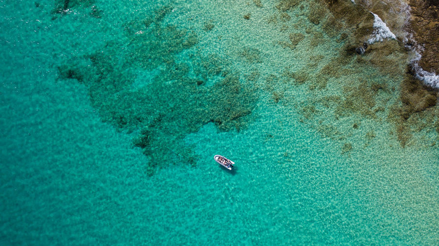 Water High Angle View Blue Turquoise Colored Nature Day Sport Sea Waterfront Nautical Vessel Aerial View Transportation Outdoors Beauty In Nature Scenics - Nature Aquatic Sport People Swimming Trip