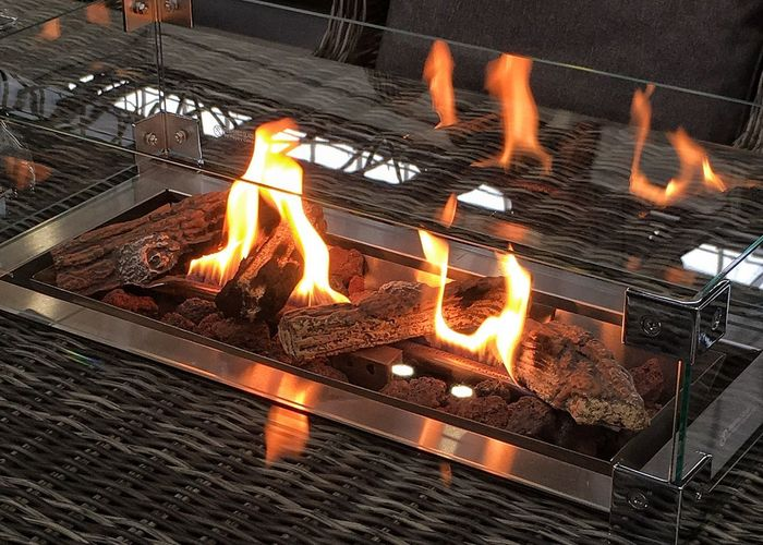 Modern fire Flame Heat - Temperature Burning Barbecue Grill Glowing Night Grilled
