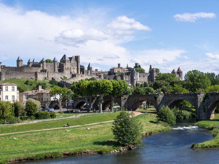 Architecture Bridge Carcassonne Castle France No People River Town