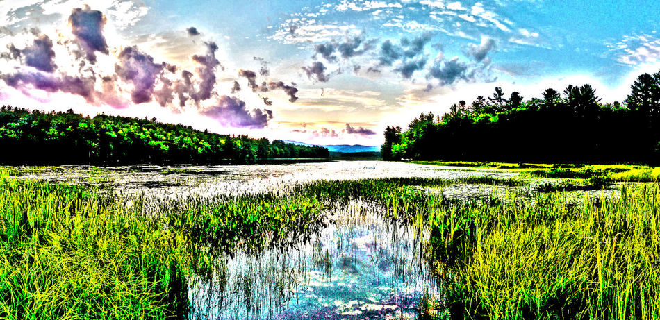 An artistic filter over this sunset shot. Sunset Photoshop New Hampshire Lake View Lakeside Lake