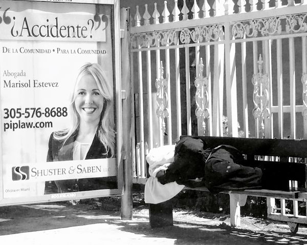 Man Sleeping Bench Lawyer Accident Contradiction Streetphotography Blackandwhite B&w Day Street Miami