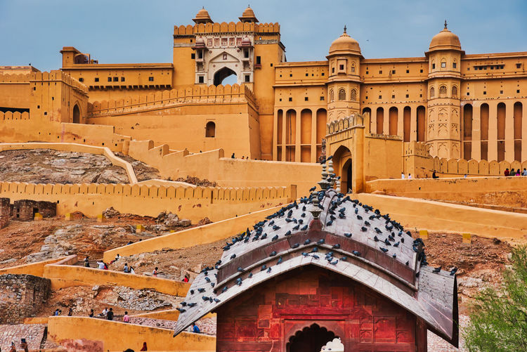Low angle view of Amber fort Amber Jaipur Jaipur Rajasthan Ancient Ancient Civilization Ancient History Arch Architecture Building Building Exterior Built Structure City Fort History Low Angle View Nature No People Outdoors Place Of Worship Religion Sky The Past Tourism Travel Travel Destinations
