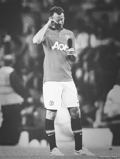 This picture deserves the black and white. Thumbs up for a legend like himself. Man United till I die Manchester United Red Devils GGMU Giggs