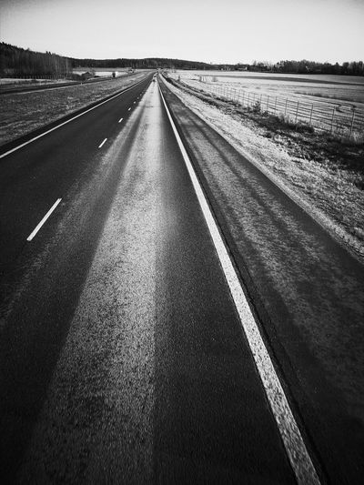 Diminishing Perspective The Way Forward Asphalt Day Landscape Road Sky Suomi Finland November Marraskuu Outthewindow Monochrome Photography Blackandwhitephotography Blackandwhite Cloud - Sky