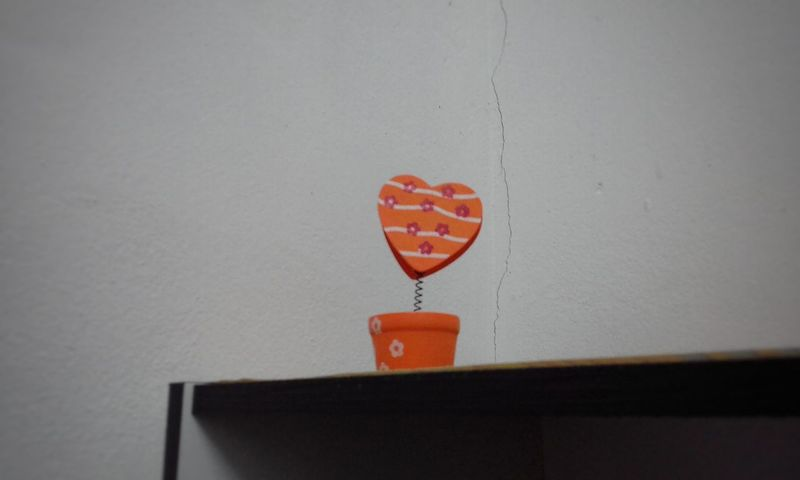 A Lone Heart Shape Orenge Colors Indoors  No People Day Close-up Hanging Vase Decoration