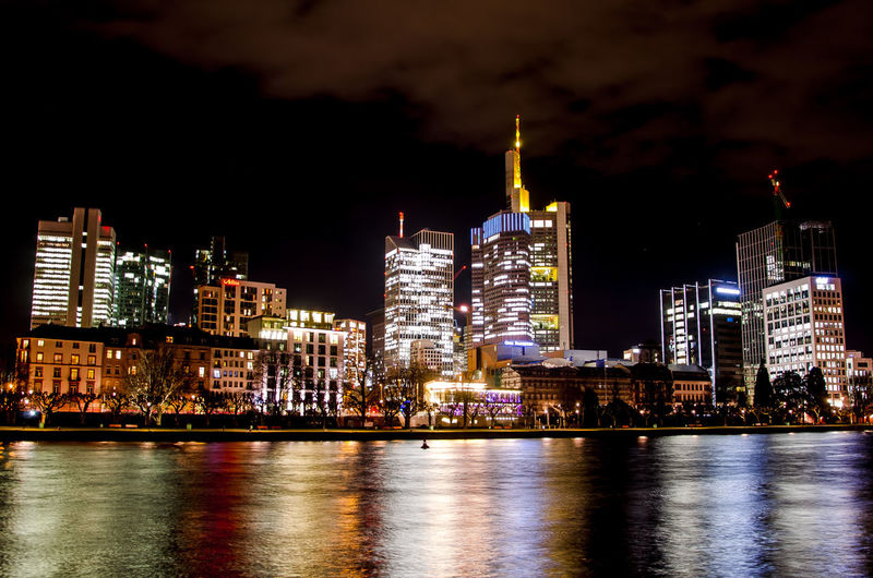 Frankfurt Skyline Building Exterior Architecture Building Built Structure Night City Illuminated Office Building Exterior Cityscape Water Skyscraper Urban Skyline Sky Landscape Waterfront Modern Reflection No People Travel Destinations Outdoors Financial District  Nightlife