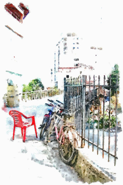 Red chair and bicycles next to a low Albania Chair Red Chair Architecture Arts Culture And Entertainment Building Exterior Built Structure Bycicles City Close-up Digital Art Digital Painting Grating Land Vehicle Mode Of Transport Outdoors Snow Street Transportation Watercolor Watercolor Painting