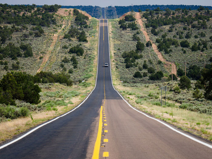 Arizona Desert Driving Freedom Lonely Highway Nature Straight Travel Traveling USA America American Highway Free Road Go Rent A Car Highway Hill Landscape No Traffic One Car Open Road Straight Ahead Straight Road The West To The Horizon