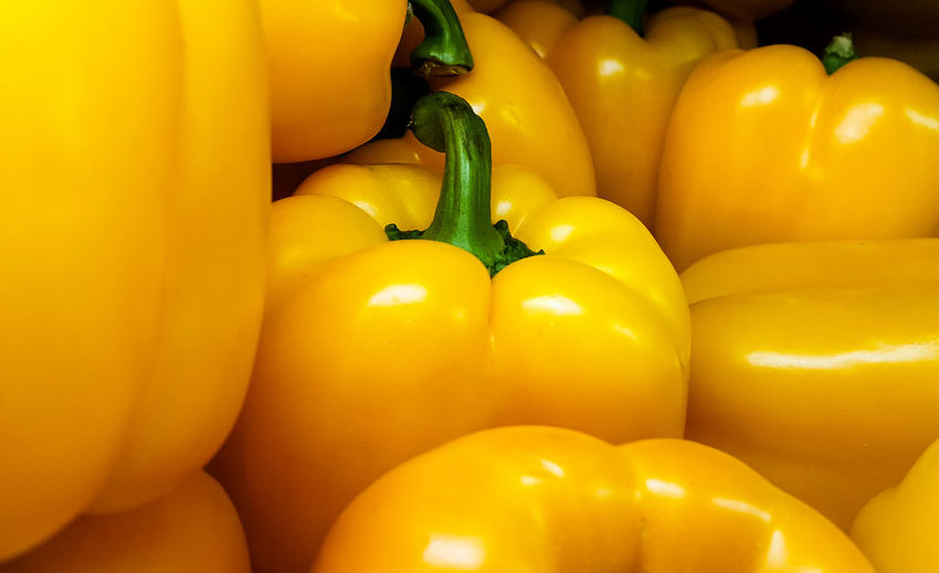 Close-up of yellow bell peppers for sale