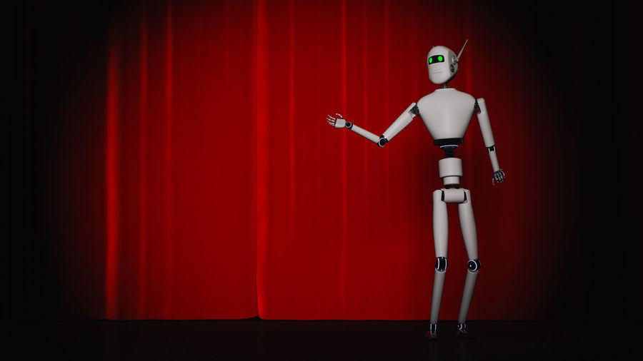 A robot stands