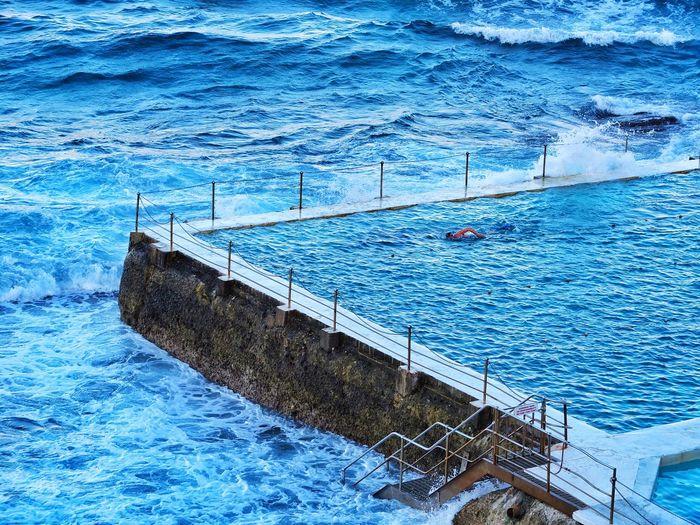 a wall apart Waves Crashing Waves Bondi Beach Ocean Swimming Blended Bondi Icebergs Water Blue Sea Swimming Pool Outdoors