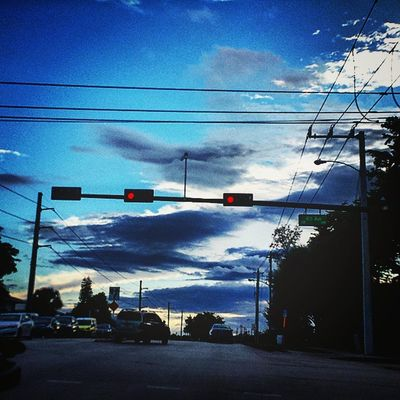 🌇Not as colorful, but definitely blue.🌇 Sky Itsabeautifulevening Streets Streetlights Powerlines