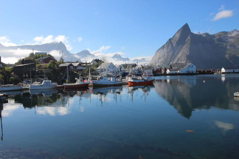 Epic Nature Reflection Amazing Nature Beauty In Nature Beauty In Nature Boat Fishhead Lofoten Lovefoten No People Travel Destinations