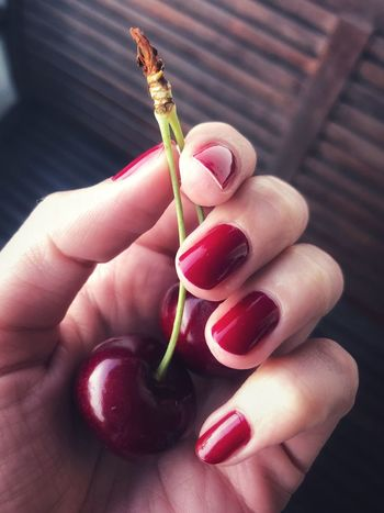 •cherry sin• Cherry Human Hand Hand Human Body Part One Person Finger Human Finger Body Part Holding Close-up Nail Polish Nail Women Personal Perspective Unrecognizable Person Food And Drink