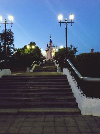 Steps Street Light Staircase Steps And Staircases Railing Stairs The Way Forward Lighting Equipment Low Angle View Lamp Post Religion Spirituality Illuminated Place Of Worship Entrance In A Row Sky Dark Footpath Outdoors