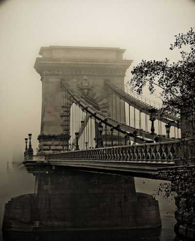 Bridge Bridge On Danube Budapest Chain Bridge Foggy Sepia