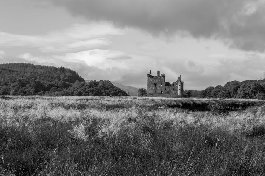Isle of Mull, Scotland - castle under a dramatic sky, black and white Architecture Black & White Blackandwhite Blackandwhite Photography Building Exterior Built Structure Castle Cloud - Sky Landscape Monochrome Mountain Outdoor Photography Outdoors Scenics Scotland Travel Destinations