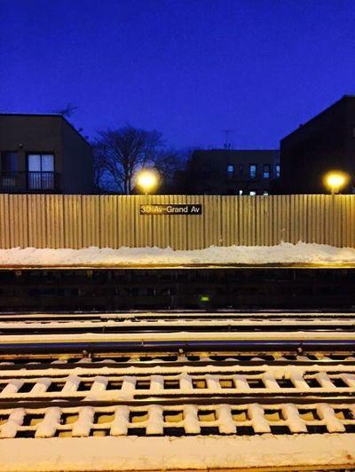 N Train Winter Blue Sky Illuminated Mta Night No People Outdoors Rail Transportation Railroad Track Sky Snow