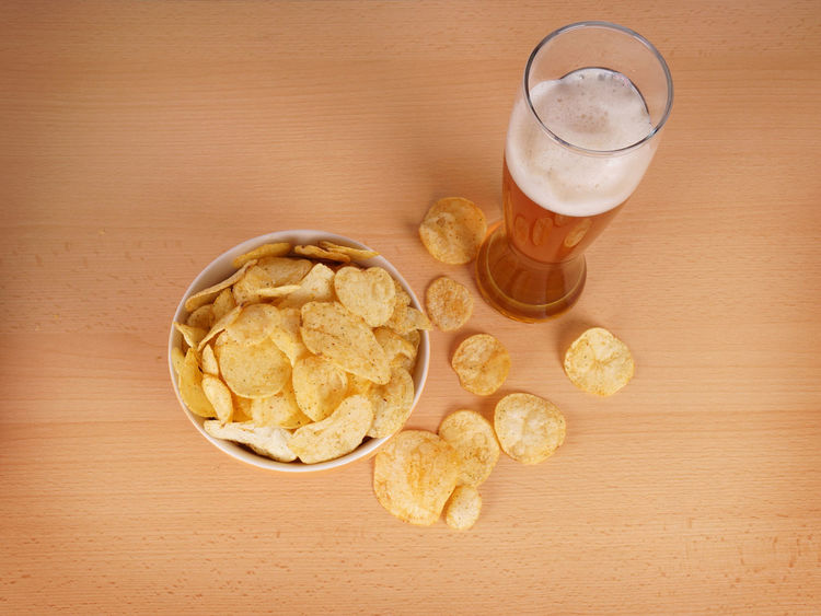 Beer Bowl Chips Crisps Food Glass Kartoffelchips No People Personal Perspective Potato Chips POV Snack Table TV Dinner Unhealthy Weizenbier Wheat Beer
