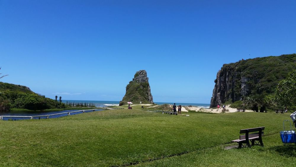 Nofilter Outdoors No People Blue Day Grass Nature Sky Power In Nature Tranquility Brazil Rio Grande Do Sul, Brazil Serra Gaúcha Beauty In Nature Nature Rock - Object Horizon Over Water Water Sea Beach Grass Field Green Grass Green Color Plant