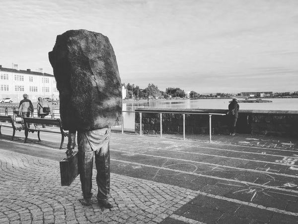 Tjörnin Reykjavik Iceland Statue
