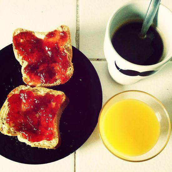 The EyeEm Breakfast Club Simple Breakstast Coffee N Juice Bread N Jam