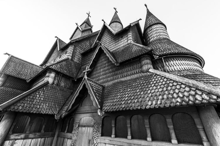 Building Exterior Built Structure Architecture Building Low Angle View Sky Roof Clear Sky Day No People The Past History Nature Place Of Worship Outdoors Pattern House Religion Old Window Roof Tile Ornate Stave Church