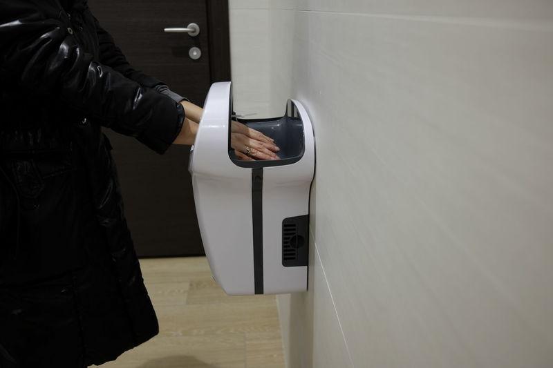 electric towels in the public bathroom Dryers Electric Hands Hygiene Modern Restroom Toilet Washroom Air Automatic Equipment Public Sensor Towel