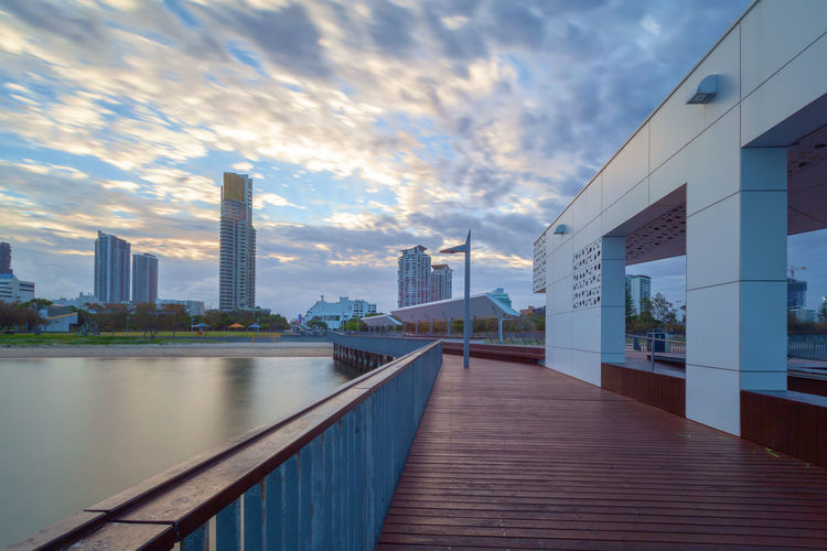 Australia Australian Landscape Queensland Landscape Architecture Building Building Exterior Gold Coast Surfers Paradise Sunset Sunset_collection Boardwalk Skyscrapers High Rise Built Structure Sky Cloud - Sky Office Building Exterior City Skyscraper Tall - High Nature Office No People Modern Outdoors Travel Destinations Financial District  Water Railing Connection