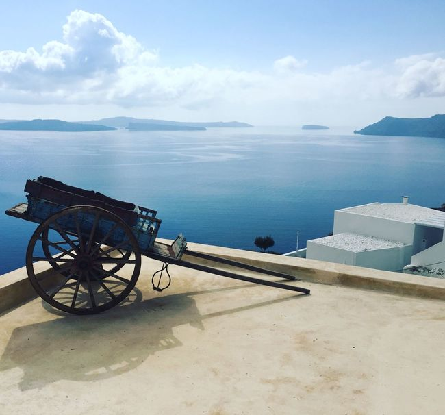 Beauty In Nature Blue Cart Cloud Day Greece Horizon Over Water Idyllic Nature Non-urban Scene Oia Oia Santorini Oia Village Santorini Santorini, Greece Sea Seascape Sky Tranquil Scene Tranquility Travel Travel Destinations Water Water Reflections First Eyeem Photo